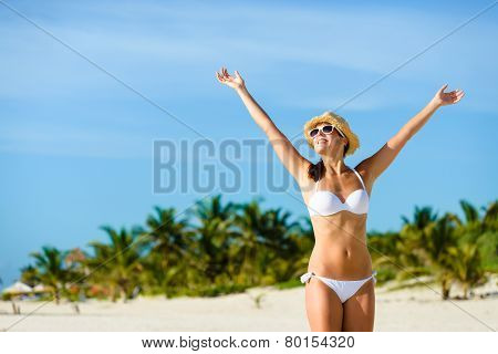 Blissful Woman Enjoying Tropical Vacation Freedom And Happiness
