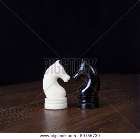 White And Black Chess Horse.