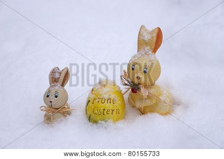 Easter decoration in snow
