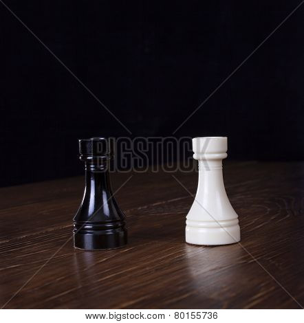 White And Black Chess Rook.