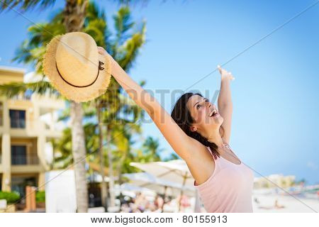Blissful Woman Enjoying Caribbean Summer Vacation