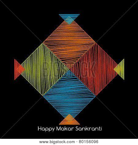 Four Colorful Kites, Makarsankranti Concept