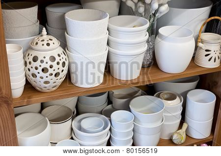 White Planters In The Florist Shop