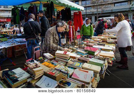 Flea market in the historic Marche d' Aligre in Paris
