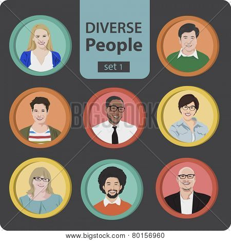 Vector Diverse Cheerful People's Faces Concept