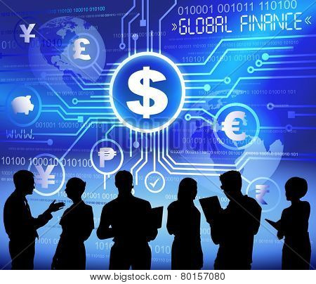 Silhouettes of Business People and Global Finance Concept
