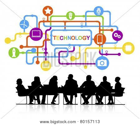 Vector of Business People Discussing Technology
