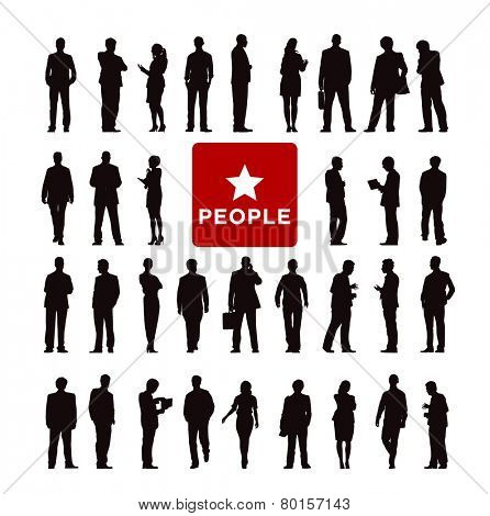 Vector of Diverse Business People's Silhouette