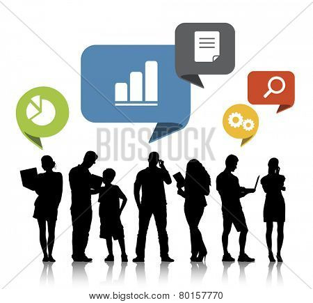 Silhouettes of Mixed Age People and Internet Concepts