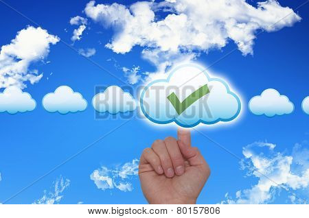 Female Hand Touching Cloud and Ticking Check Box