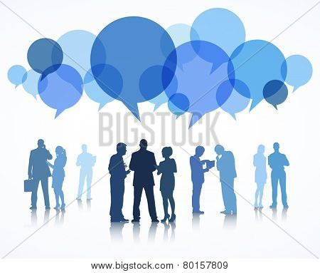 Vector of business people with blue speech bubble.