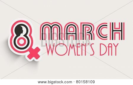 Poster, banner or flyer with silhouette of woman face and female symbol for Happy Women's Day celebration.