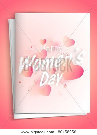 Elegant greeting card design with beautiful hearts for Happy Women's Day celebration.