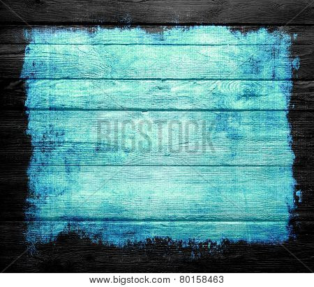 blue grunge wood texture background with black frame