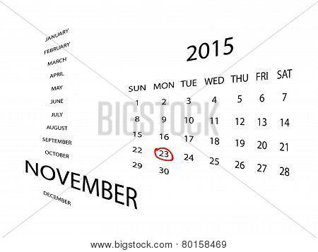 Calendar for November 2015