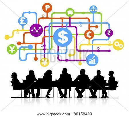 Vector of global finance themed background with silhouettes of business people sitting around the conference table.
