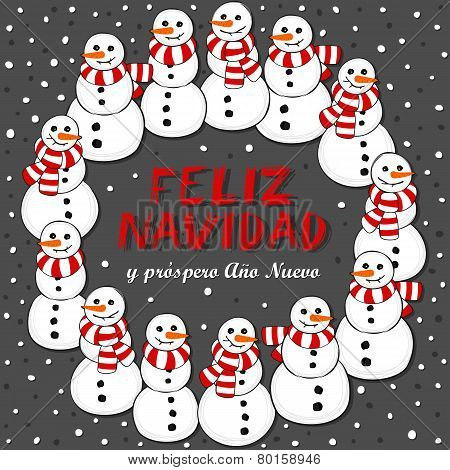 snowmen with scarfs wreath holiday card illustration with Merry Christmas wishes in spanish on dark