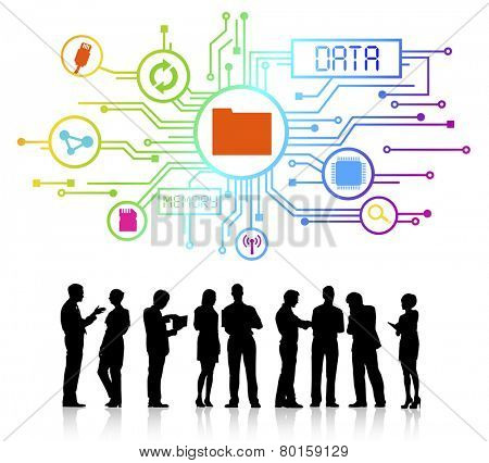 Vector of data and memory themed background and silhouettes of business people talking.