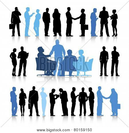 Colorful sillhouette of the business people.