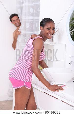 couple in the bathroom