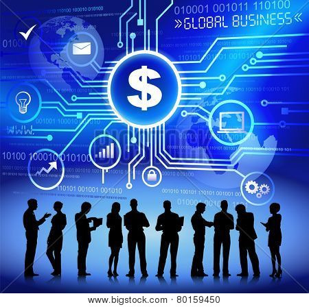 Vector of Business People Discussing Financial Issues