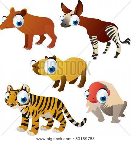 vector isolated cartoon cute animals set: tapir, capybara, okapi, monkey, tiger