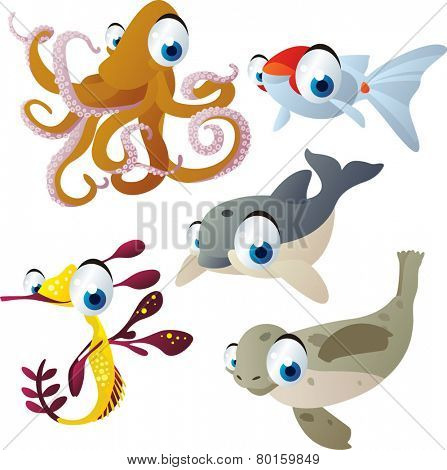 vector isolated cartoon cute animals set: octopus, goldfish, dolphin, seal, sea dragon