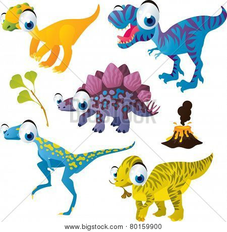 vector isolated cartoon cute animals set: dinosaurs: fabrosaurus, stegosaurus, tyrannosaurus, wannanosaurus, maiasaura