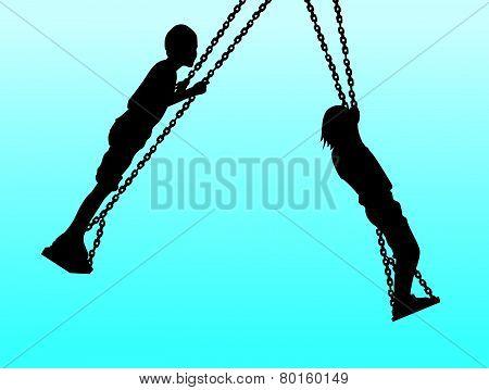 children swinging