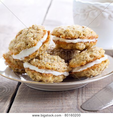 Oat Sandwich Cookies With Cream Filling