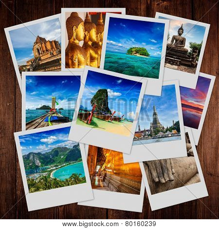 Thai travel tourism concept design - collage of Thailand images on wooden background
