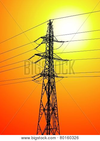 power pole at sunset