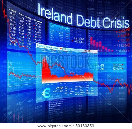 Ireland Debt Crisis Economic Stock Market Banking Concept