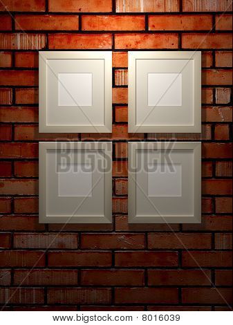 Picture Frames On A Brick Wall