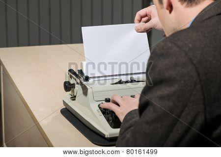 Copy space at typewriter