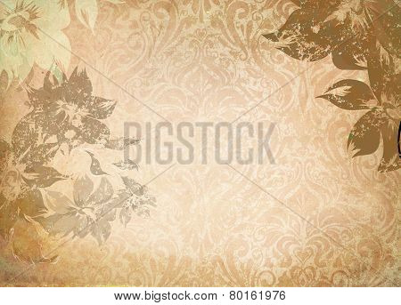 Old Grunge Paper With Floral Patterns.