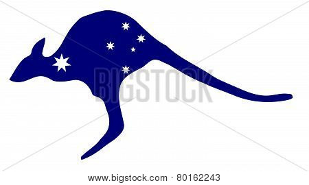 Kangaroo With Flag Stars