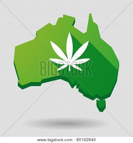 Green Australia Map Shape Icon With A Maarijuana Leaf