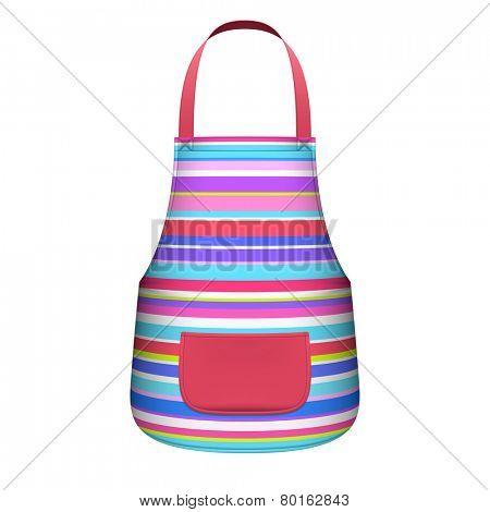 Striped kitchen apron. Vector.