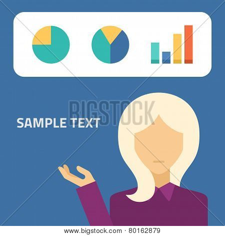 Flat vector illustration. Blonde girl showing presentation graphs