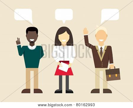 Vector flat illustration. Different people character, male, female, businessman