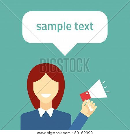 Flat vector illustration. Girl with speaker. Promotion concept