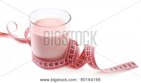 Dietary cocktail with centimeter isolated on white
