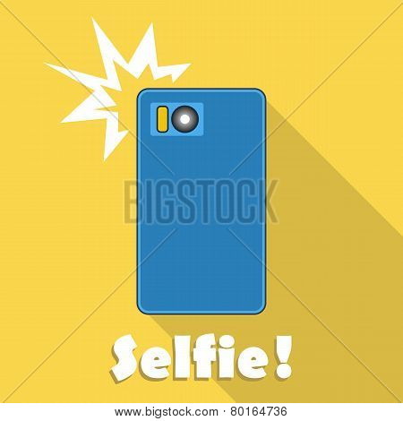 Taking Selfie On Smartphone. Vector.