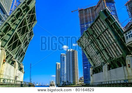Bascule Bridge In Miami, Florida