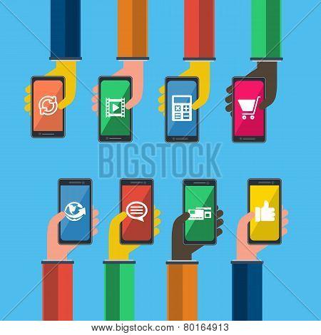 Smartphones In Hands. Mobile Apps Concept. Vector.
