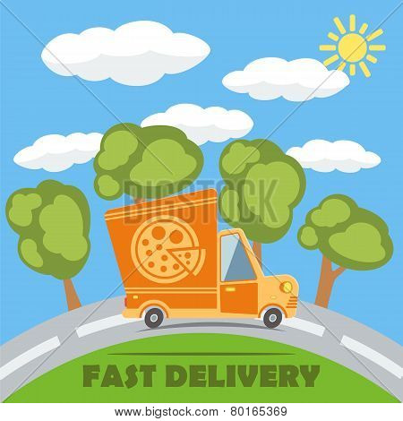 Fast Delivery Van Truck With Pizza Vinyl Logo. Vector.