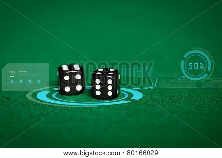 gambling, fortune, game, technology and entertainment concept - close up of black dice on green casino table and virtual projection