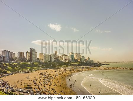Crowded Beach Aerial View In Mar Del Plata