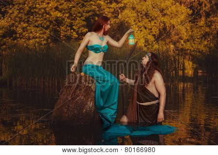 Fairytale Woman With A Lantern.